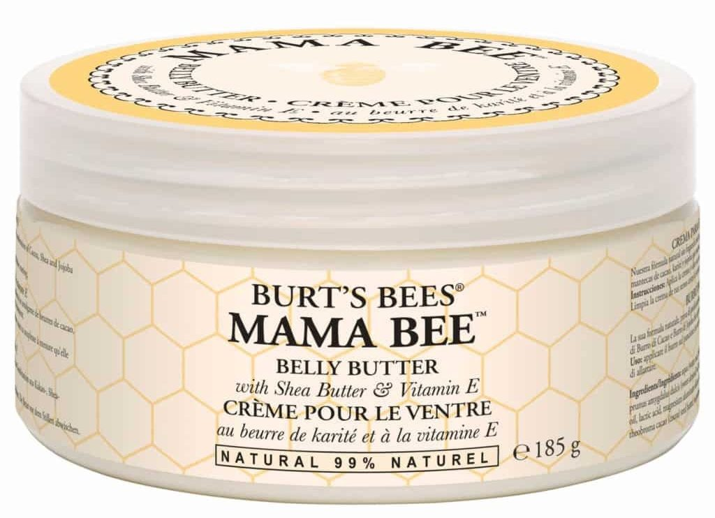 a glass jar of Burt's Bee's Mama Bee Belly Butter