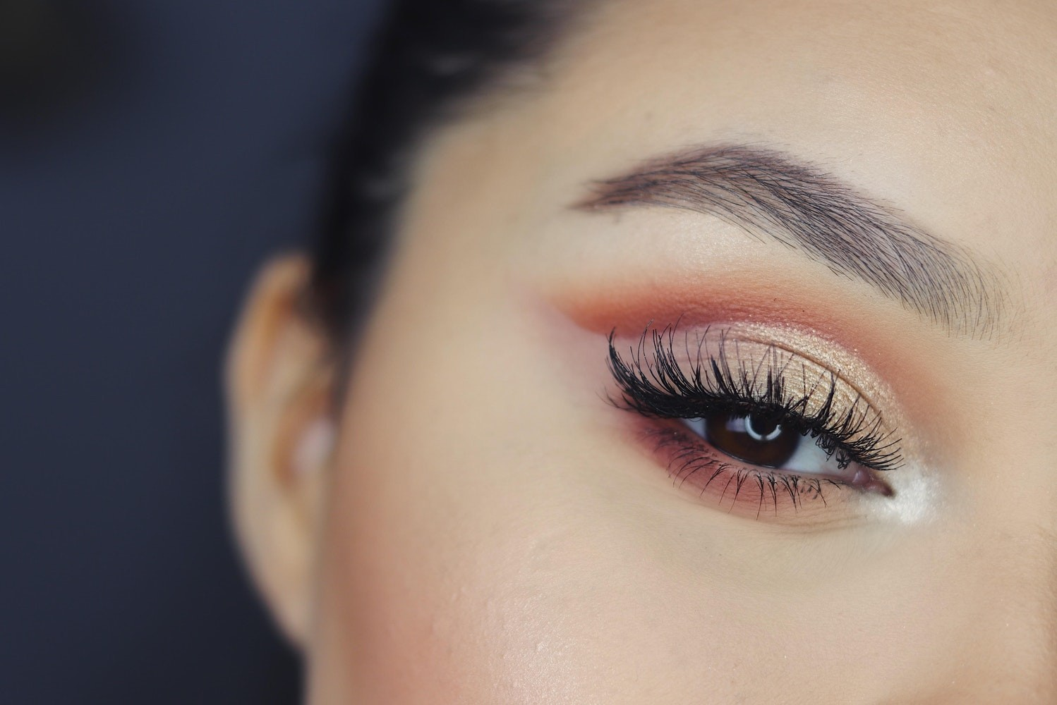 close of eye with lash extensions and shimmery eyeshadow.
