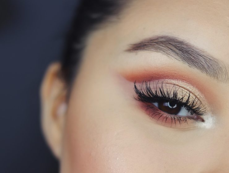 Lady's eyes with mascara and eye makeup for sensitive eyes