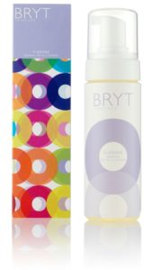 BRYT Cleanser bottle sat next to boxed packaging.