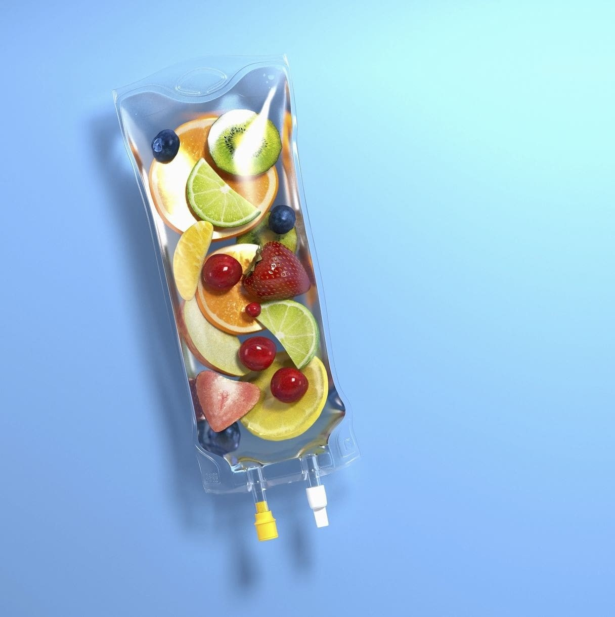 blue background, with an IV Bag full of sliced fruits.