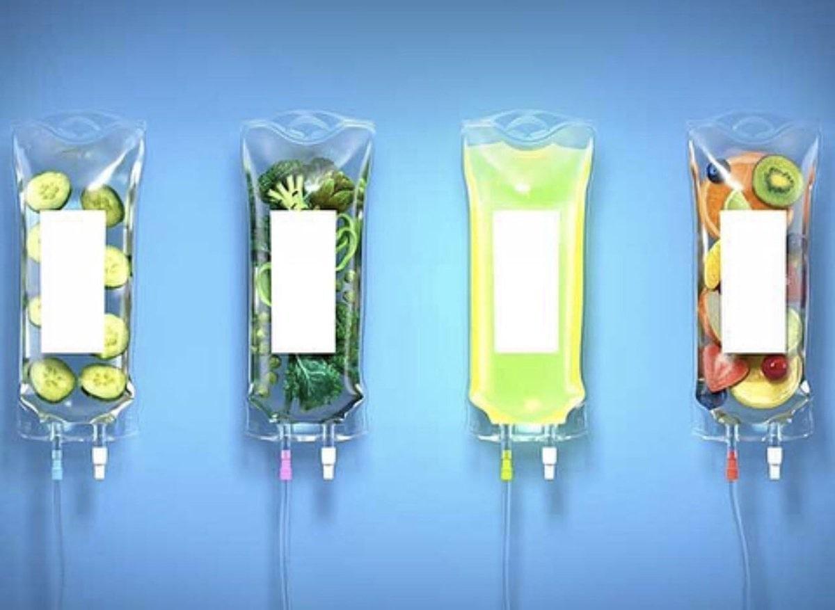 sliced fruit/veg within four IV bags.