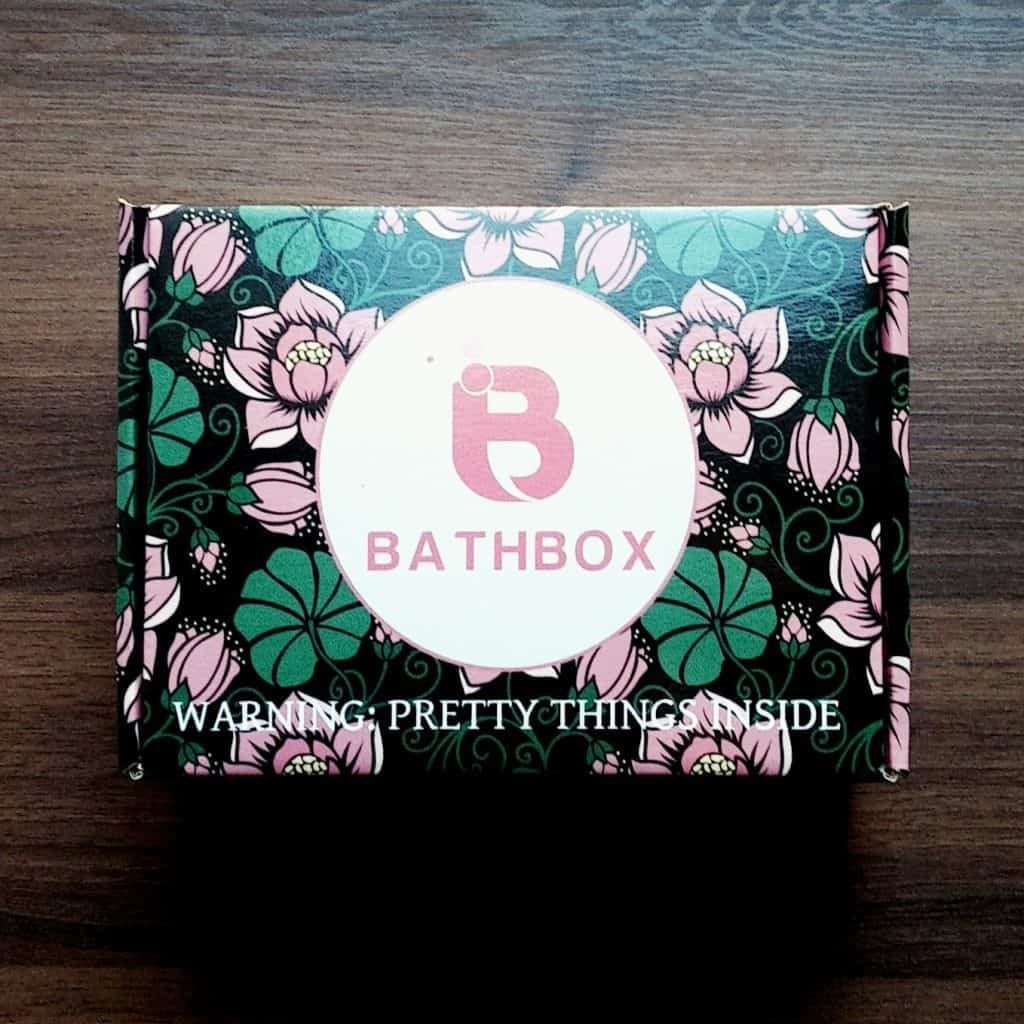 a bathbox beauty box, in a floral pattern with BathBox logo label on top.