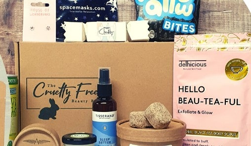 crueltyfreebeautybox - with products surrouding it.