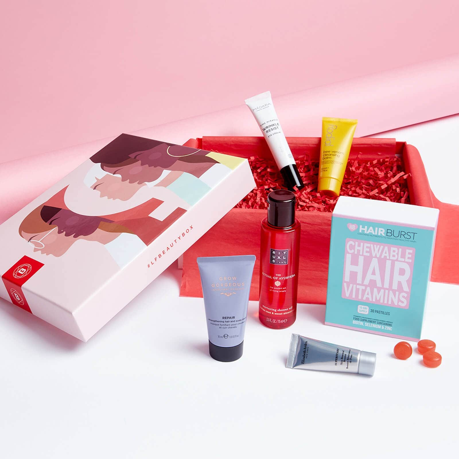 Beauty subscription boxes: lookfantastic beauty box with cosmetic boxes.