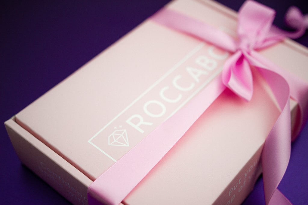 roccabox gift box, wrapped with a pink bow.