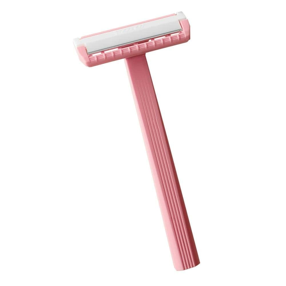 a woman's pink single blade razor on a white background.