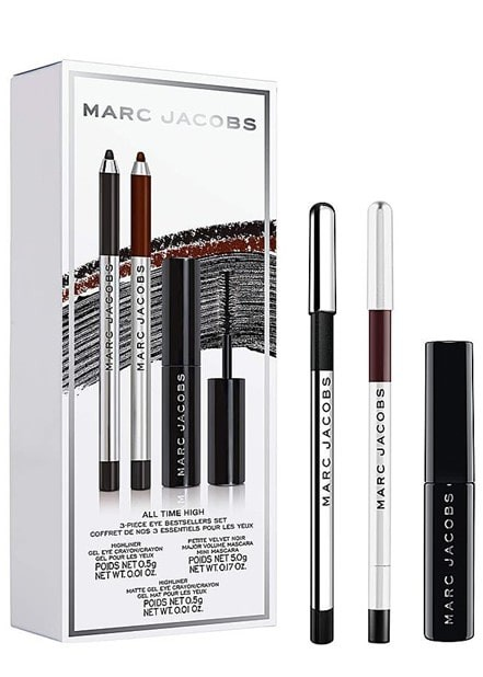 all time high marc jacobs beauty makeup set, pictured with packaging.