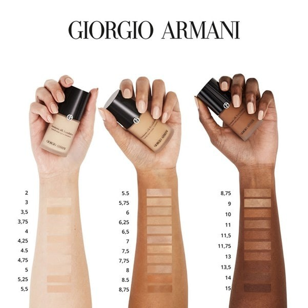 Giorgio Armanu shades shown on various skintones.
