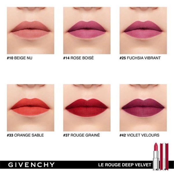 Givenchy Le Rouge Deep Velvet pictured in various shades.